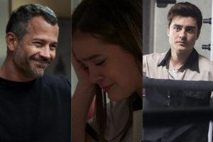 Cássia (Mel Maia) aceita relacionamento de Agno (Malvino Salvador) e Leandro (Guilherme Leicam) em A Dona do Pedaço (Montagem: TV Foco)