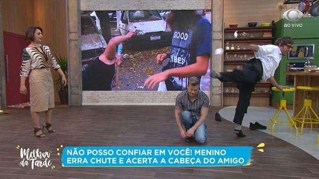 Cátia Fonseca, Aaron Tura, Miro no Melhor da Tarde (Foto: Reprodução/Band)