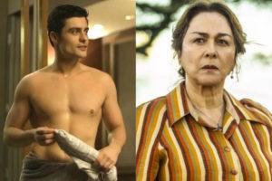 Evelina (Nívea Maria) incentiva Leandro (Guilherme Leicam) a roubar Agno (Malvino Salvador) em A Dona do Pedaço (Montagem: TV Foco)