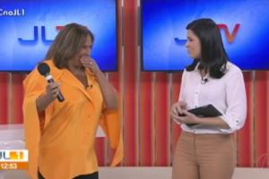 Fafá de Belém se engasga ao vivo durante apresentação em jornal local da Globo (Foto: Reprodução)