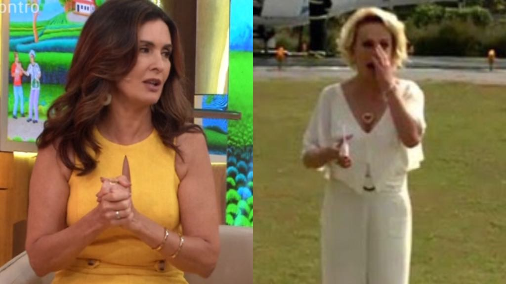 """Fátima Bernardes """"esquece"""" de cumprimentar Ana Maria Braga ao receber o horário da colega da Globo (Imagem: TV Foco)"""
