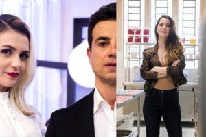 Kim (Monica Iozzi) se casa escondida de Márcio (Anderson Di Rizzi) e Fabiana (Nathalia Dill) entrega o jogo em A Dona do Pedaço (Montagem: TV Foco)