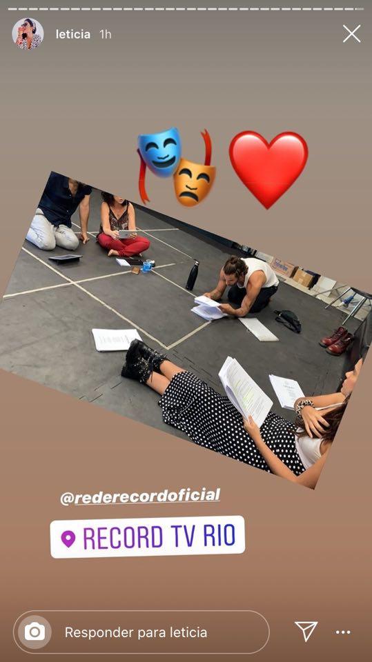 Letícia Almeida ensaia com o ex-namorado Pablo Morais para a novela Amor sem Igual da Record TV (Reprodução: Instagram)