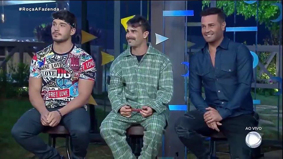 Lucas Viana, Jorge Sousa e Rodrigo Phavanella estão na Roça em A Fazenda 11 da Record TV (Reprodução: PlayPlus)