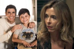 Régis (Reynaldo Gianecchini) e Arthur (Bernardo Dantas) se reencontram em A Dona do Pedaço. O menino aproveita para conhecer Lyris (Deborah Evelyn) (Montagem: TV Foco)