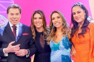 Silvio Santos e as filhas, Rebeca, Patrícia e Silvia (Foto: Reprodução/SBT)