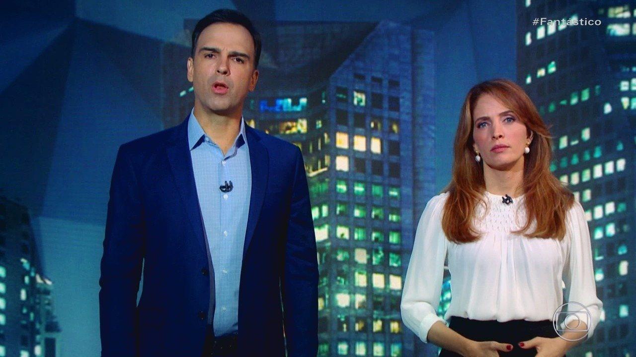 Tadeu Schmidt e Poliana Abritta Fantástico (Foto: Reprodução/Globoplay)