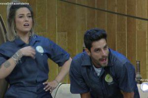 Tati Dias e Diego Grossi em A Fazenda 11 durante a Prova do Fazendeiro (Reprodução: PlayPlus)