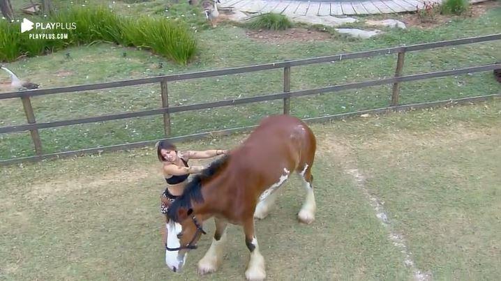 Tati Dias em momento de intimidade com cavalo em A Fazenda 11 (Reprodução: PlayPlus)