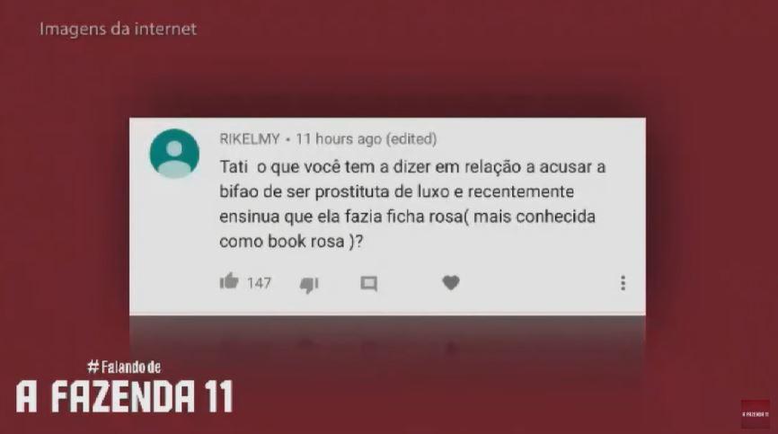 Tati Dias responde sobre a acusação de Bifão ser garota de programa que fez em A Fazenda 11 (Reprodução: YouTube)