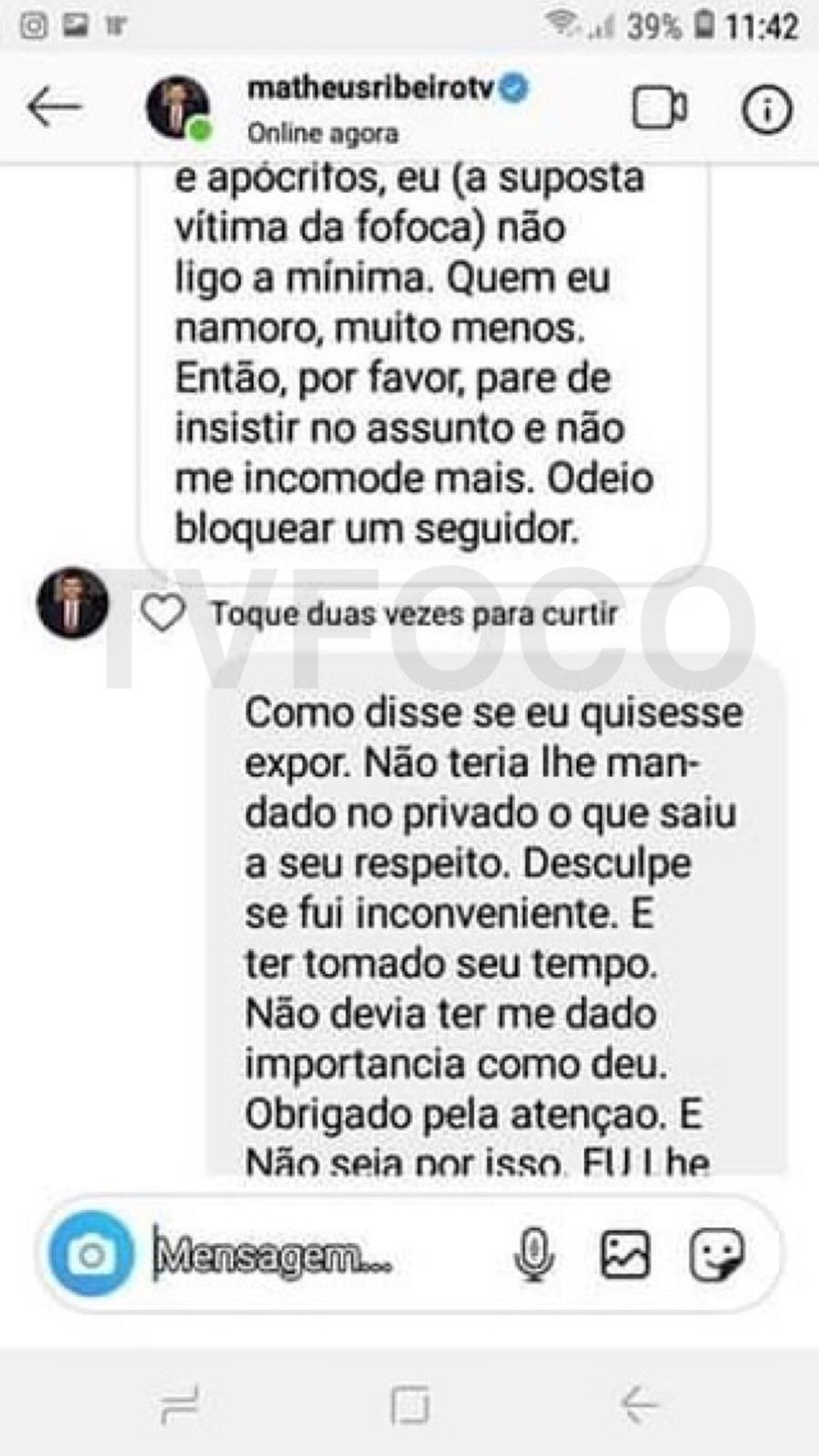 Matheus Ribeiro, que em breve apresentará o Jornal Nacional, na Globo, respondeu comentário de internauta (Instagram)