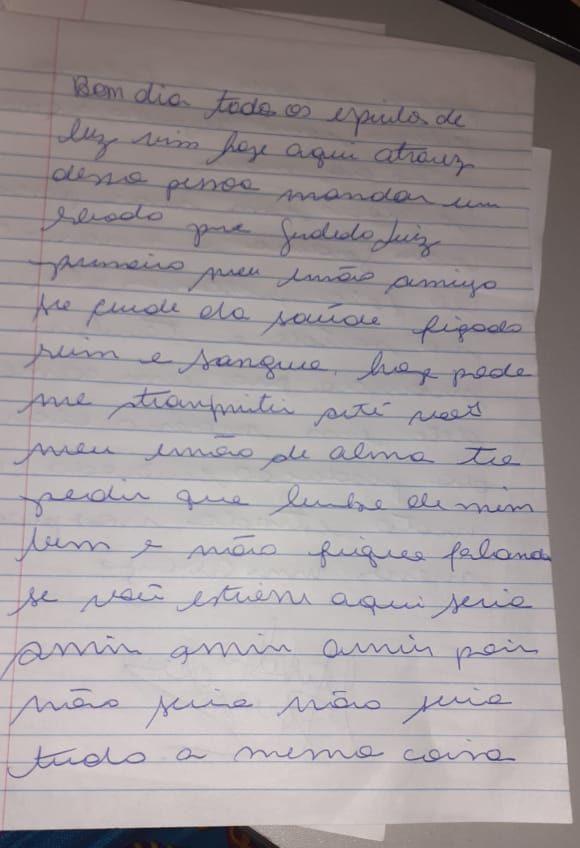 Carta psicografada enviada por Marcelo Rezende à Geraldo Luís (Foto: Érica Dias)