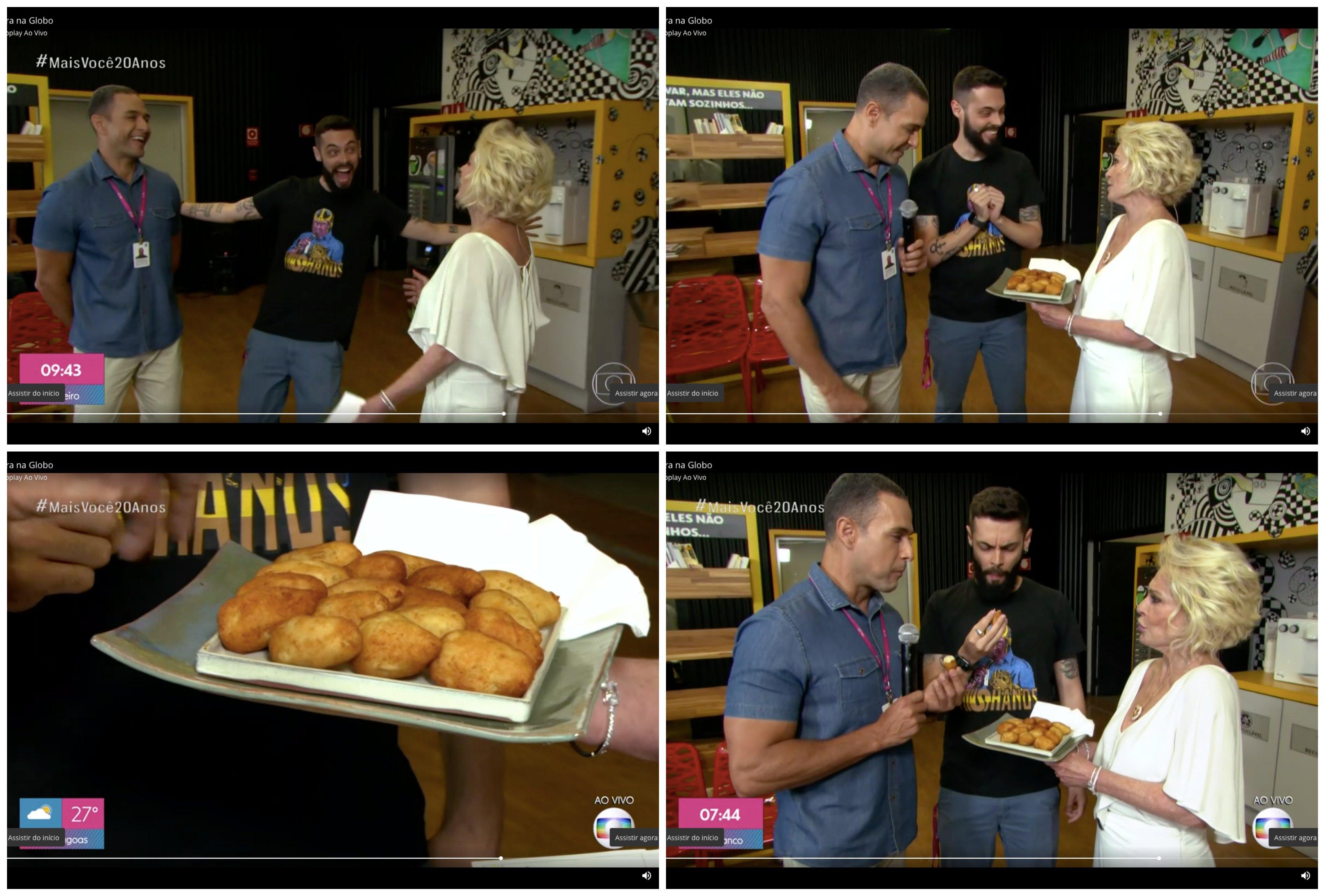 Ana Maria braga dando coxinhas para Cauê Fabiano e Felipe. Montagem: TV FOCO