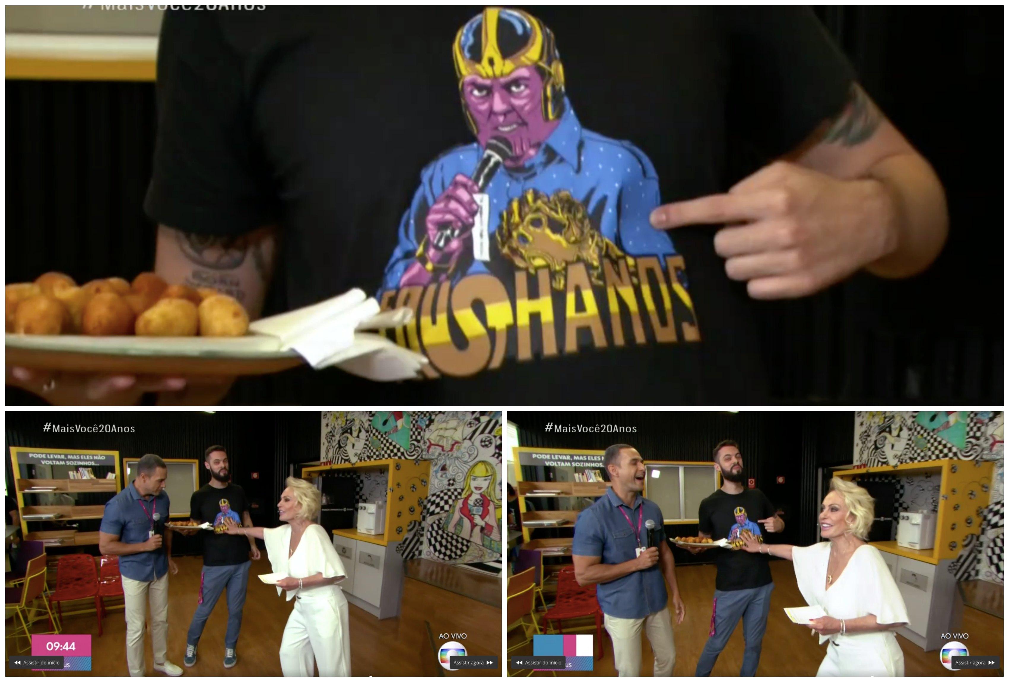 Ana Maria Braga, Cauê Fabiano e Felipe caem na gargalhada com o meme Fausthanos. Montagem: TV FOCO