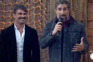 Marcos Mion e Jorge Sousa em A Fazenda 11, que teve ótima audiência (Foto: Reprodução/Record)