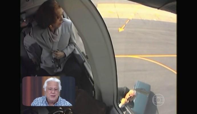 Antônio Fagundes pendurado em helicópter (Foto: Reprodução/ TV Globo)