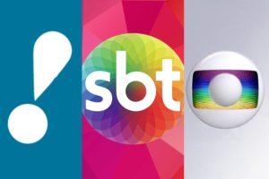 Logos das emissoras RedeTV!, SBT e Globo. Foto: Reprodução