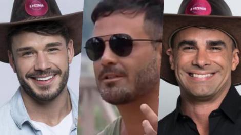 Lucas, Rodrigo Phavanello e Jorge Souza estão na roça da Fazenda 11