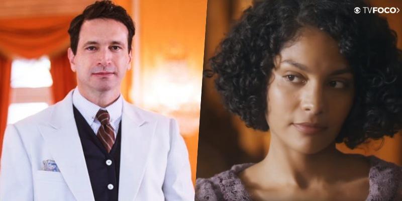 Em montagem do site TV Foco, os atores Caco Ciocler e Bárbara Reis em paralelo como seus personagens de Éramos Seis