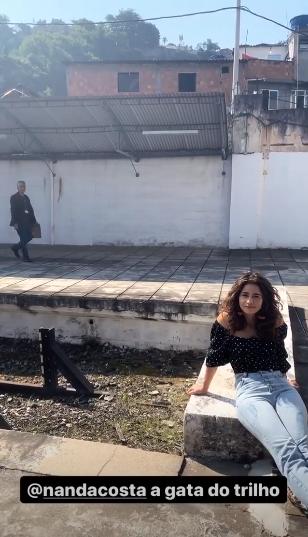Nanda Costa nos Stories de Thiago Martins durante as gravações de Amor de Mãe (Foto: reprodução/ Instagram)