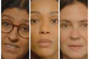 Regina Casé, Taís Araújo e Adriana Esteves apareceram em chamada de Amor de Mãe, próxima novela das 9 da Globo, para falarem de suas personagens (Foto: Reprodução)