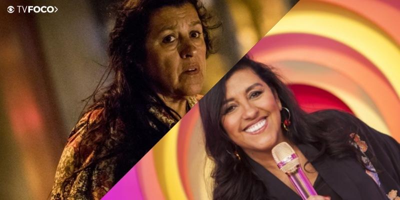 Foto montagem feita pelo TV Foco com a imagens de Regina Casé na novela Amor de Mãe e no programa Esquenta da Globo