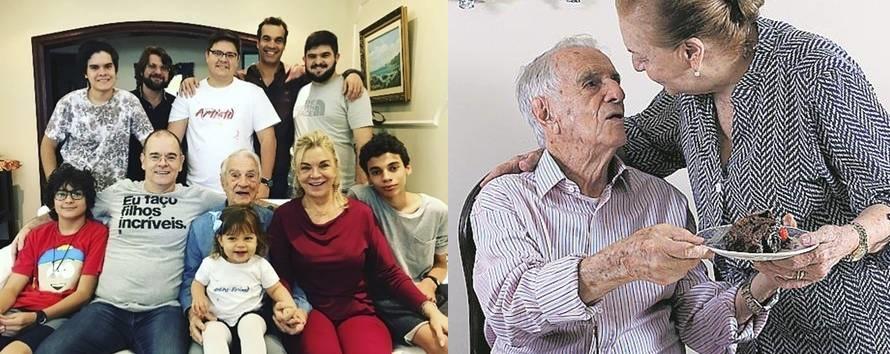Orlando Drummond com os descendentes e à direita com a esposa (Foto: Fábio Rossi)