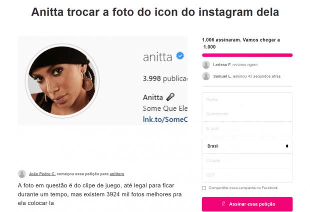 Anitta acaba revoltando fãs e petição é criada na internet afim de melhoras no perfil da cantora. Foto: Reprodução