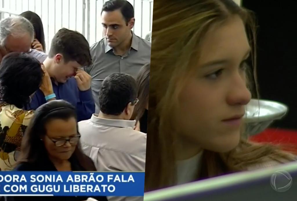Filhos de Gugu durante velório do apresentador na Assembleia Legislativa de São Paulo (Foto reprodução RecordTV)