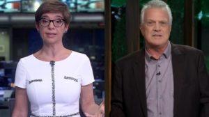Renata Lo Prete no Jornal da Globo e Pedro Bial em seu talk show: programas da Globo perderam para o SBT no ibope (Foto: Reprodução/Globo/Montagem TV Foco)