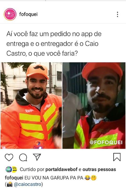 Caio Castro virou entregador (Foto: Reprodução)