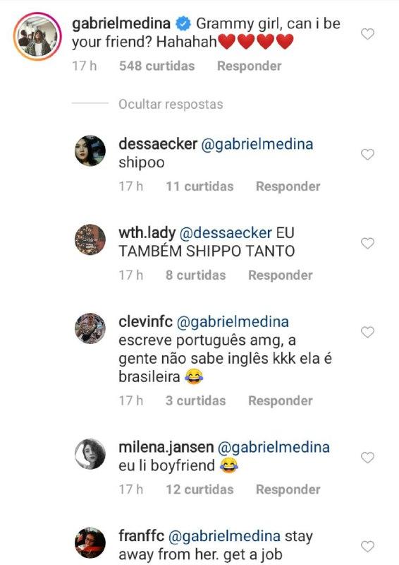 Gabriel Medina deu o que falar após deixar comentário em foto de Priscilla Alcântara (Foto: Reprodução/ Instagram)