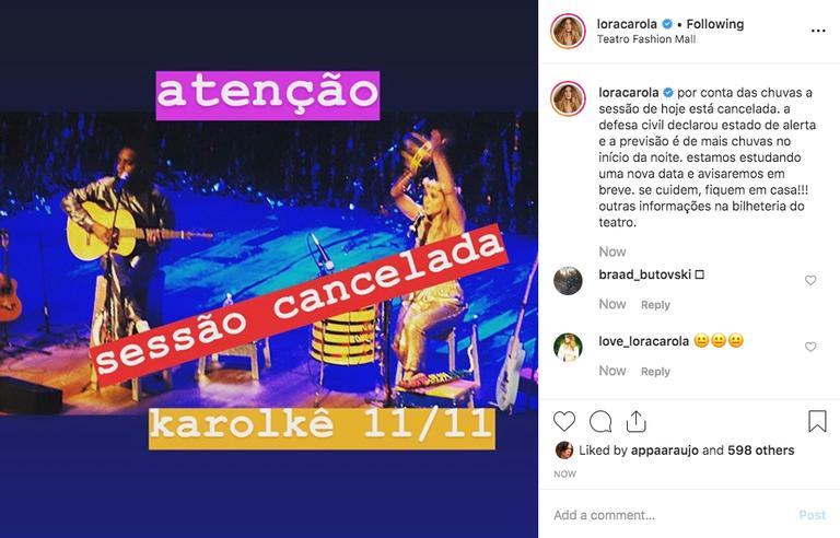 Carolina Dieckmann publica comunicado aos espectadores cancelando a apresentação de seu espetáculo no Rio de Janeiro (Imagem: Instagram)