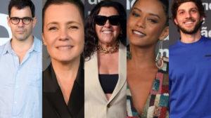 Juliano Cazarré, Adriana Esteves, Regina Casé, Taís Araújo e Chay Suede estão em Amor de Mãe da Globo (Montagem: TV Foco)