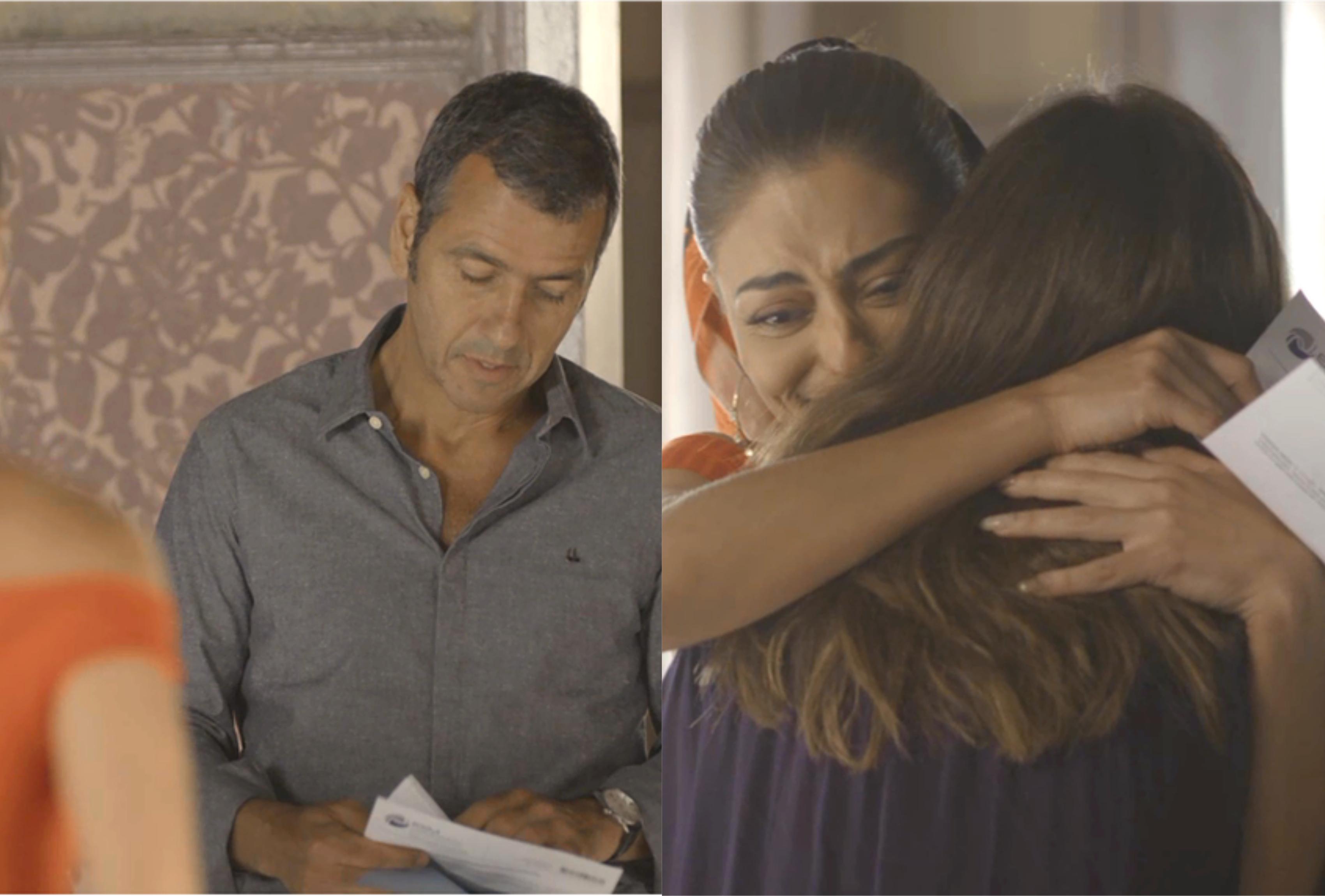 Amadeu (Marcos Palmeira) lê o resultado do exame de DNA para Maria da Paz (Juliana Paes) em A Dona do Pedaço da Globo (Montagem: TV Foco)