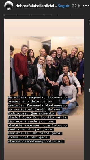 Publicação de Débora Falabella ao lado de Fernanda Montenegro e do namorado,o ator Gustavo Vaz (Foto: Reprodução/Instagram)