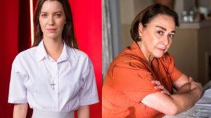 Fabiana (Nathalia Dill) se passa por Evelina (Nívea Maria) em A Dona do Pedaço da Globo (Montagem TV Foco)