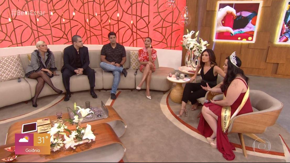 A apresentadora da Globo, Fátima Bernardes é pega desprevenida durante Encontro (Foto: Reprodução/Globoplay)