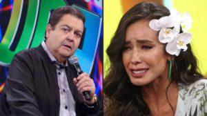 Faustão e Tati Scarletti (Foto: Reprodução/TV Globo/Montagem TV Foco)