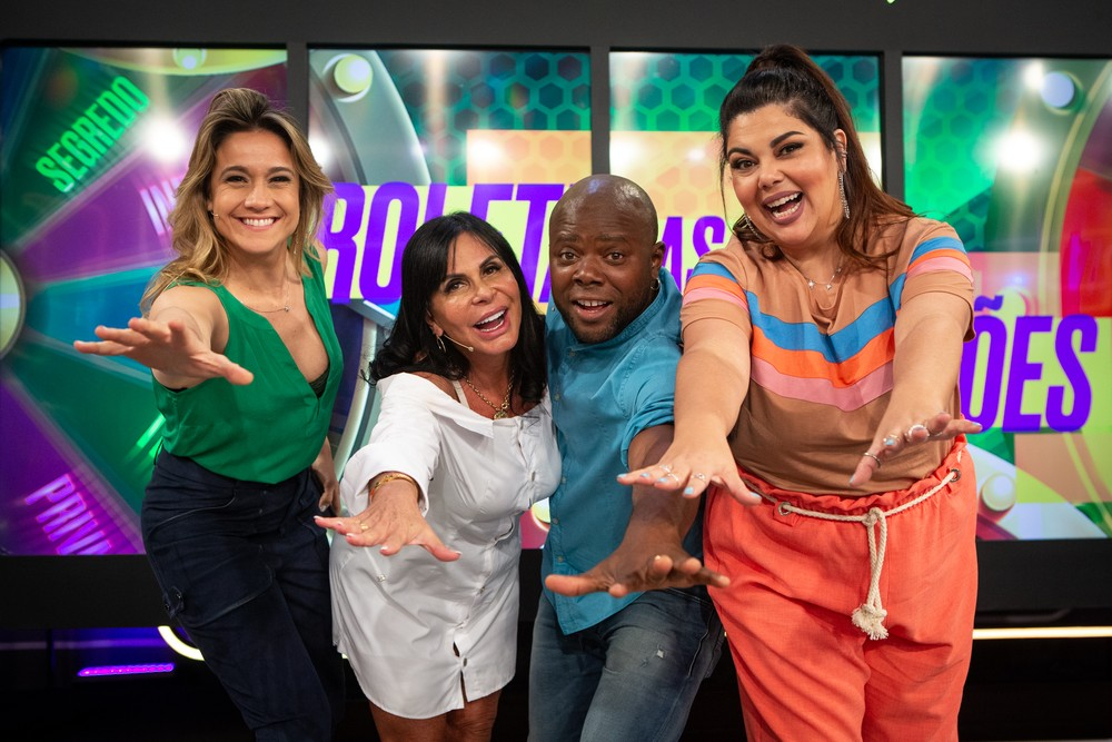 Gretchen participa do Se Joga ao lado de Fabiana Karla, Fernanda Gentil e Érico Brás e se emociona ao lembrar da morte do filho (Imagem: Foto: Isabella Pinheiro/Gshow)