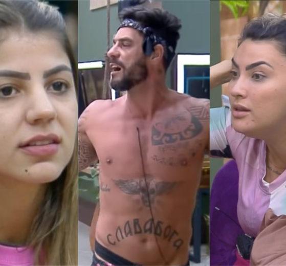 Hariany Almeida é traída pela própria amiga Thayse Teixeira e é detonada por Diego Grossi em A Fazenda 11 da Record (Montagem: TV Foco)