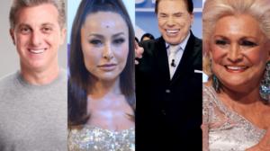 O apresentador da Globo, Luciano Huck, contratada da Record, Sabrina Sato, dono do SBT, Silvio Santos e Hebe Camargo (Foto: Montagem TV Foco)