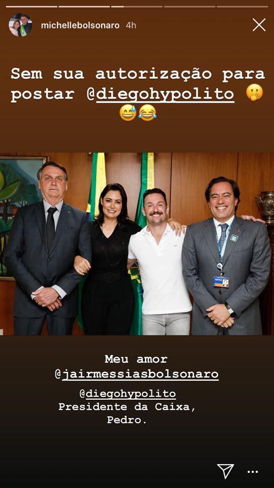 Michelle Bolsonaro faz postagem em Instagram ao lado de Diego Hypolito e Jair Messias Bolsonaro (Reprodução: Instagram)