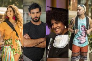Érica (Nanda Costa), Magno (Juliano Cazarré), Camila (Jéssica Ellen) e Ryan (Thiago Martins) são filhos de Lurdes (Regina Casé) em Amor de Mãe da Globo (Montagem: TV Foco)