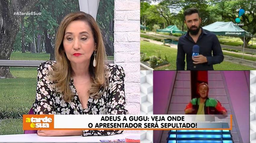 Sonia Abrão e Bruno Tálamo mostram a cova de Gugu (Foto: Reprodução/YouTube)