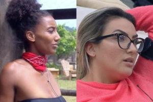 Thayse Teixeira e Sabrina de Paiva batem boca em A Fazenda da Record (Montagem: TV Foco)