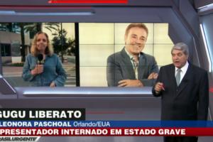 A repórter Eleonora Paschoal, no programa do Datena, se emocionou ao vivo enquanto falava do estado de saúde de Gugu Liberato Imagem: Reprodução/TV Band
