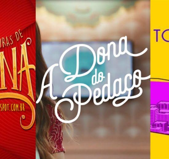 Logos das novelas As Aventuras de Poliana, A Dona do Pedaço e Topíssima. Foto: Reprodução audiência audiências