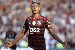 O atacante Bruno Henrique no jogo entre Flamengo x Corinthians, que bombou a audiência da Globo (Foto: André Durão)