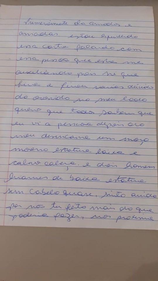 Carta feita por Marielle Franco, segundo Lene Sensitiva (Foto: Reprodução)